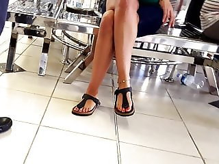 girl sexy crossed legs hot feets red toes