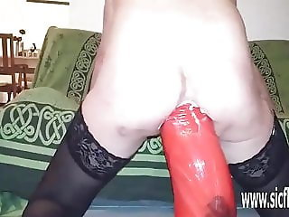 Insanely huge anal dildo fucked amateur