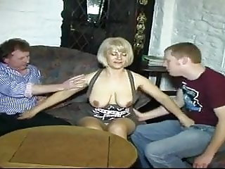 Blonde gets Fucked by BF and His Mate in the Lounge Bar.