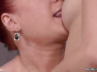 Blonde girl seduces mature to fuck with vibro