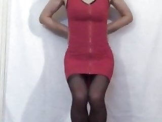 Pink Front Zipper Mini-Dress Floor View