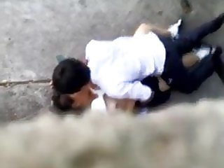 Thai students fuck outdoor