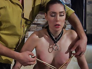 Cruel Master trains his slave girl.