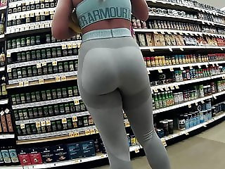 Grey spandex tight ass sexy blonde