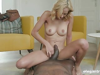 Black guy fucks insanely hot blonde in the ass and pussy