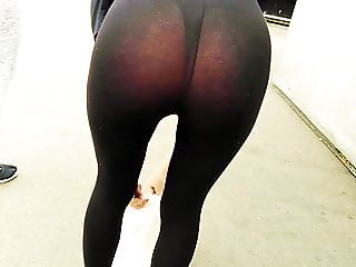 See through leggings bent over