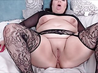 Sexy Big Ass In Fishnet Riding Dildo