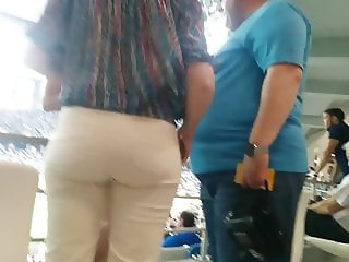 Juicy big butt milfs in tight white pants
