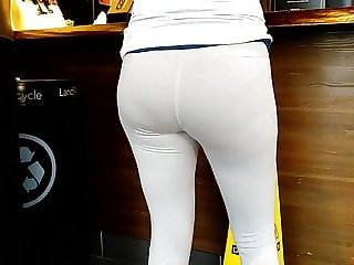 Great ass in tight white leggings three