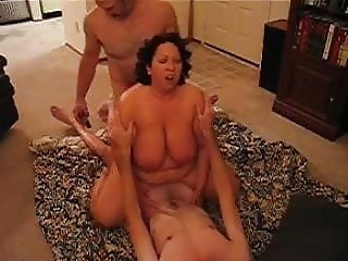 Horny BBW fucking in a threesome