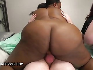 Two big butt Ladies riding his hard pole