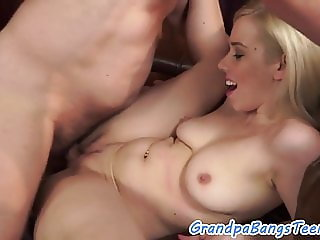 Busty eurobabe banged by a lucky old man