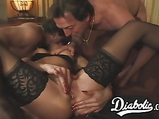 Young succubi Vlasta taken care off in DP spitroast session