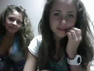 Two very sexy young  teens on webcam for the first time...
