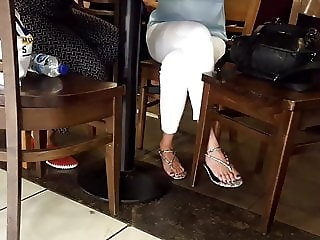 candid girl dangling sexy long feets toes