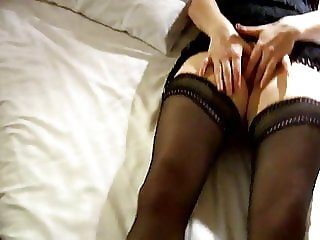 Wife cums with the curtains open