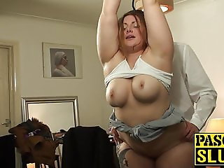 Roughly fucked BBW subslut is hungry for dick and jizz
