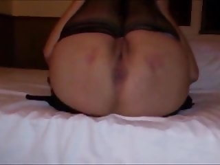 Stocking Wife play in hotelroom. my fingers make big squirt