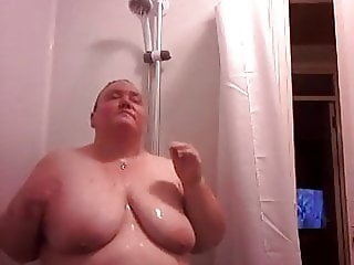 My wife Liz having another shower