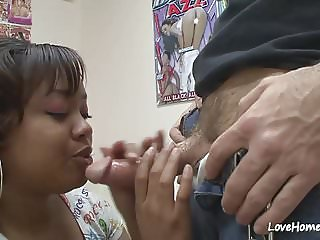 Curvy black woman sucking and riding his dick.mp4