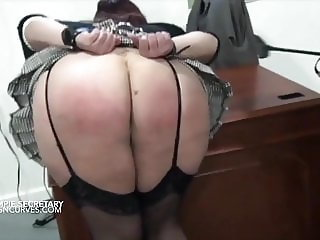 Creampie secretary has her ass spanked