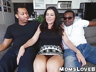 Lusty MILF with big natural tits smashed by black studs