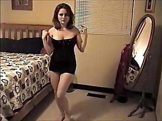 Dancing wife at home