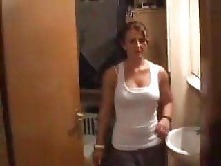 Neighbor's wife in toilet.