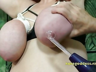 Huge breasts and pussy electro tortured