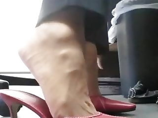 P-Love office nylon Tootsies in red mules
