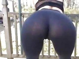 Sexy ass in tight sheer leggins hard nipples cameltoe doggy