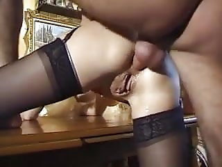 Mature with big hanging tits takes some cock up her arse