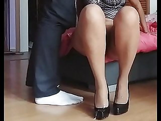 Cum on beige patern stockings and black high heels