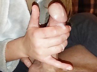 Skilled student edging with cum, second time today!