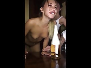 Topless friend lost a bet - sexy tits deepthroating bottle