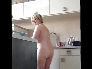 Mature BBW Wife with Big Tits Big Ass in the Kitchen