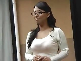 Japanese Aunt glasses big ass with friends daughter