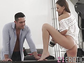 Teen fucked from behind and receives cumshot on her feet