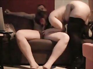 Amateur curvy wife riding cock at home