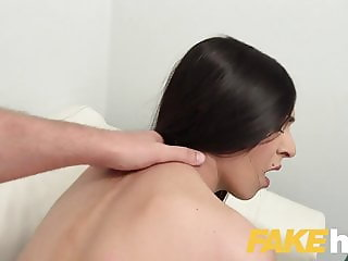 Fake Agent Sexy slim Czech model sucks thick cock on casting