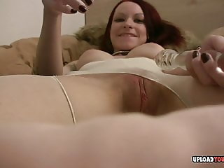 Close-up of her tight pussy while masturbating