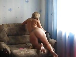 Blonde Using Sex Toy And Stuffing A Variety Of Panties