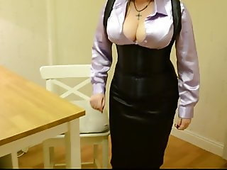Satin Blouse Corset Pencil Skirt (No nudity)