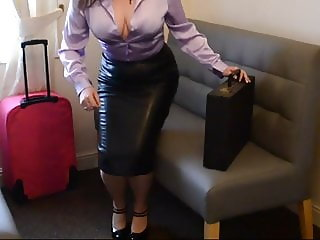Satin Blouse Leather Skirt (No nudity)