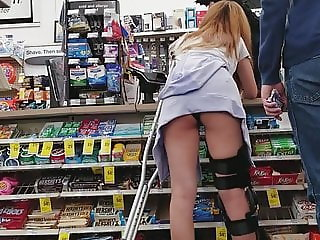 CVS Creep Shots slut on crutches ass hanging out shorts