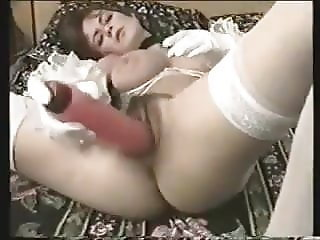Brit wife pulls panties aside and fucks herslef with dildo