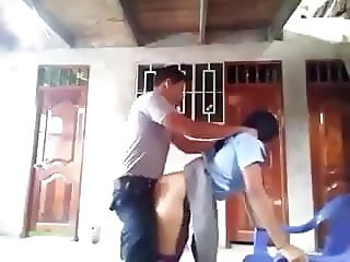 Police officer fucking school girl outdoor