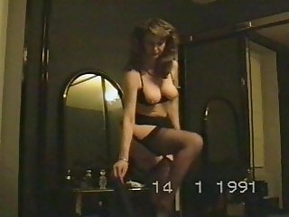 wife's vintage striptease before blowjob