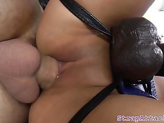 Young asian domina pegging tight ass