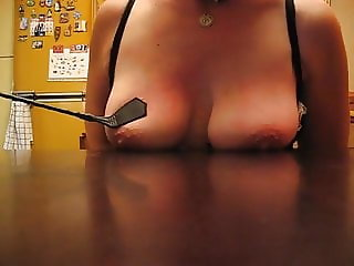 Leyla's tits whipped on the table